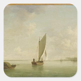 En smiska seglar Under i en ljus bris i en flod, c Fyrkantigt Klistermärke