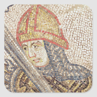 En soldat med ett svärd fyrkantigt klistermärke