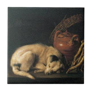 En sova hund med terrakottakrukan av Gerrit Dou Kakelplatta