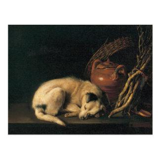 En sova hund med terrakottakrukan av Gerrit Dou Vykort