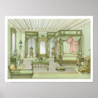 En sovruminsida i Henri II stil (färglitho Poster