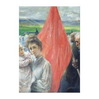 En strejka på Saint-ouen, 1908 Canvastryck