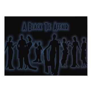 En svart Tieangelägenhet 12,7 X 17,8 Cm Inbjudningskort
