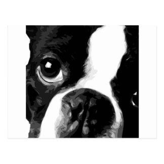 En svartvit Boston terrier Vykort