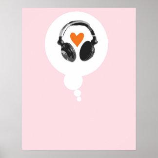 En tanke bubblar med en hjärta och hörlurar poster