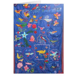 En Tapestry av fågelhälsningkortet Hälsningskort
