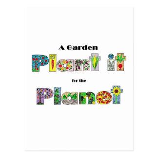 En trädgård, planterar det för planet, jordens vykort