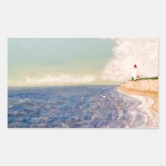 En trevlig sandig strand rektangulärt klistermärke