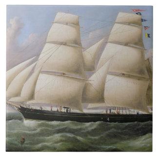 En två Masted Schooner av Dover olja på kanfas Keramiska Plattor
