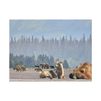 En underbar kanvastryck av grizzlybjörnar
