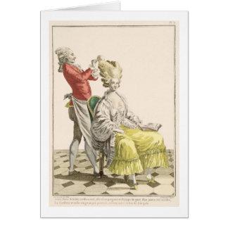 En ung kvinna i en Peignoir med henne frisör, Hälsningskort