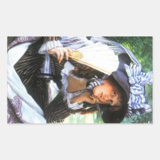 En ung kvinna med en fläkt av James Tissot Rektangelformat Klistermärke