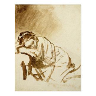 En ung kvinna som sovar c.1654 vykort