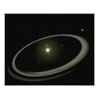 En ung stjärna som cirklas av normalformat planet fototryck