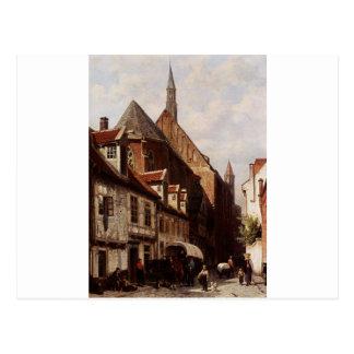 En upptagen gata i Bremen med den Sanktt Johannen Vykort