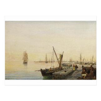 En upptagen hamn av Konstantinos Volanakis Vykort