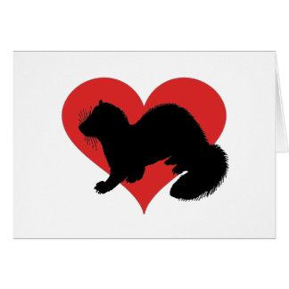 En vessla med en enorm röd hjärta hälsningskort