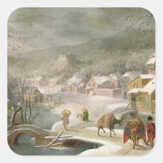 En vinter landskap med handelsresandear på en väg fyrkantigt klistermärke