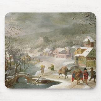 En vinter landskap med handelsresandear på en väg musmatta