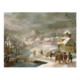 En vinter landskap med handelsresandear på en väg vykort