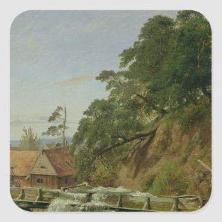 En Watermill i Christiania, c.1834 Fyrkantigt Klistermärke
