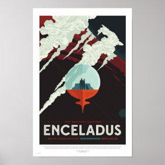 Enceladus - Retro NASA reser affischen Poster