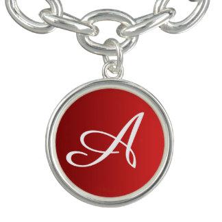 ENDAST avfyrar FÄRGlutningar rött + din monogram Berlockarmband