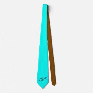 Endast färgbakgrund - turkosbrunt + monogram slips
