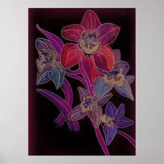 Endast Orchids i rött och lila Poster