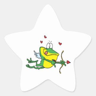 enfaldig groda för froggy för kärlekcupidvalentin stjärnformade klistermärken