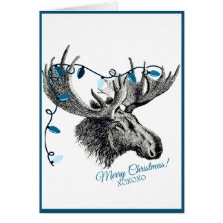 Enfaldig julälg med blåttljus hälsningskort