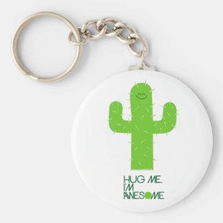Enfaldig kaktus Keychain Rund Nyckelring
