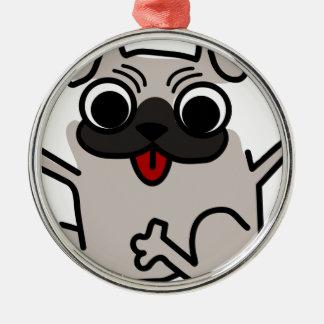 enfaldig mopshund julgransprydnad metall