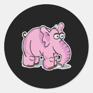 enfaldig rosa elefant runt klistermärke