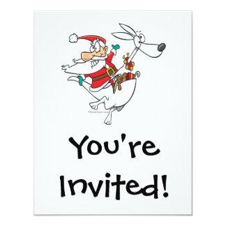 enfaldiga santa på en rolig tecknad för känguru 10,8 x 14 cm inbjudningskort