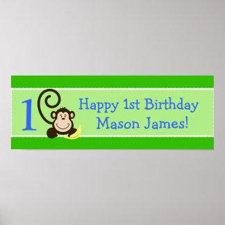 Enfaldigt baner för födelsedag för apagröntpersonl poster