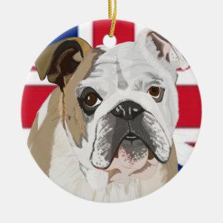 Engelsk bulldogg julgransprydnad keramik