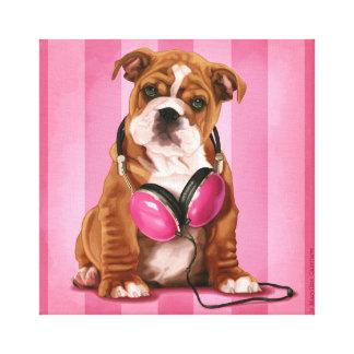 Engelsk bulldogg och retro hörlurar canvastryck