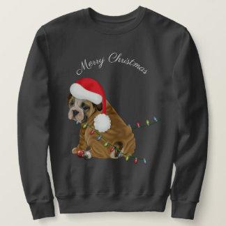 Engelsk bulldoggvalpjul långärmad tröja