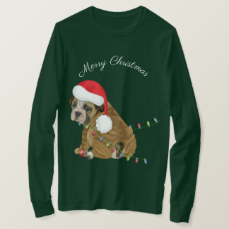 Engelsk bulldoggvalpjul t-shirt