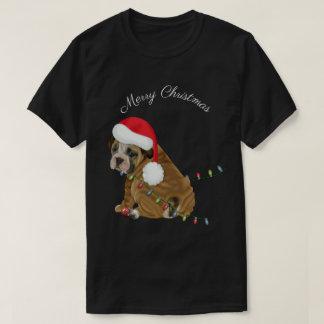 Engelsk bulldoggvalpjul tee shirt