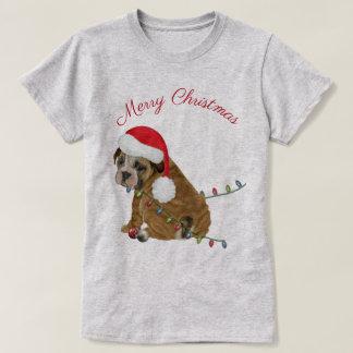 Engelsk bulldoggvalpjul tee shirts
