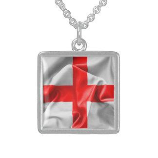 Engelsk korflagga för St Georges Sterling Silver Halsband
