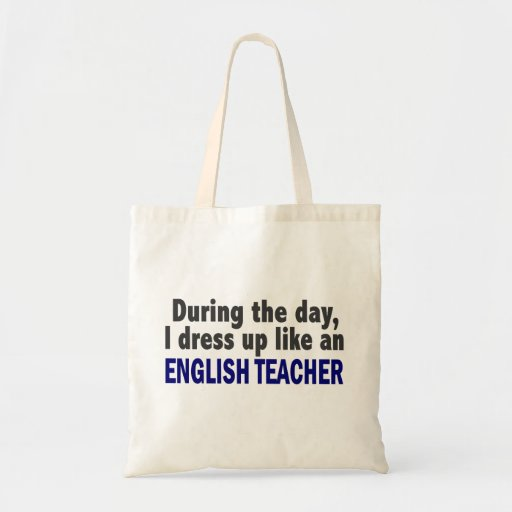 Engelsk lärare under dagen tygkassar