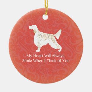Engelsk Setter som är tänkande av dig Julgransprydnad Keramik