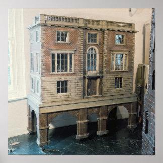 Engelska balustraded dockhus med balkongen poster