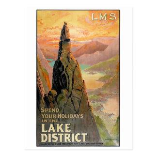 England affisch för vintage resor för sjöområde vykort