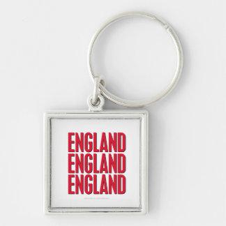 England England England Fyrkantig Silverfärgad Nyckelring