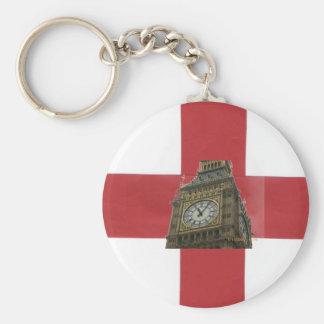 England flagga och stora Ben Rund Nyckelring