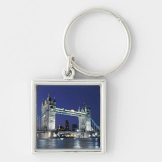 England London, torn överbryggar 3 Fyrkantig Silverfärgad Nyckelring